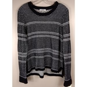 MADEWELL Black & White High Low Hem Sweater Size L